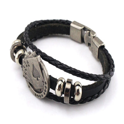 Vintage Cowhide Playing Card Bracelet Three Layer Woven Cowhide Fashion Hand Strap European and American Men Women Accessories