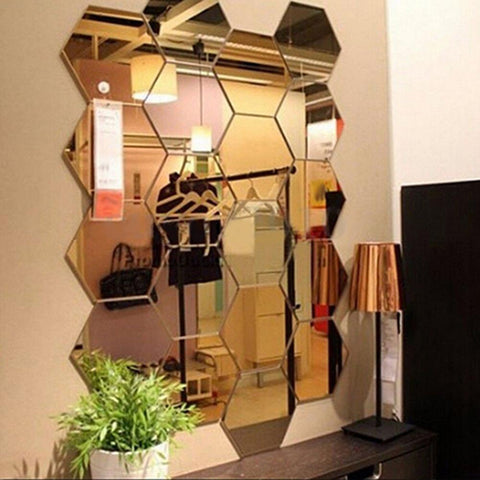 Image of 12Pcs Mirror Hexagon Removable Acrylic Wall Stickers Art DIY Home Decoration Decals Living Room Mirrored Decorative Stickers
