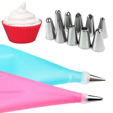 Image of 12Pcs/Set Cake Decorating Tools Silicone Icing Piping Cream Pastry Bag + 68 Stainless Steel Nozzle Pastry Tips Converter