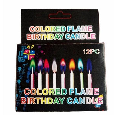 12pcs/Box Multicolour Flame Candles Colorful Wedding Party Birthday Cake Candles Home Decoration Party Supplies FES7072