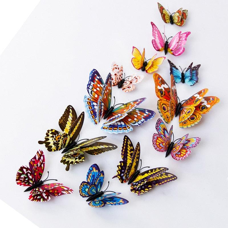 12pcs PVC 3d diy Butterfly Luminous glow in dark Design Decal Magnetic magnet sticking double feather wall  stickers home Decor