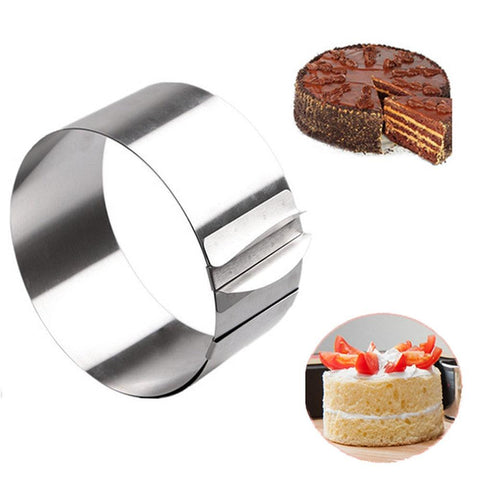 Image of 16-30CM Adjustable Stainless Steel Cake Mold Cookie Fondant Mousse Ring Baking Tool Cake Mould Round Cake Decorating Tools