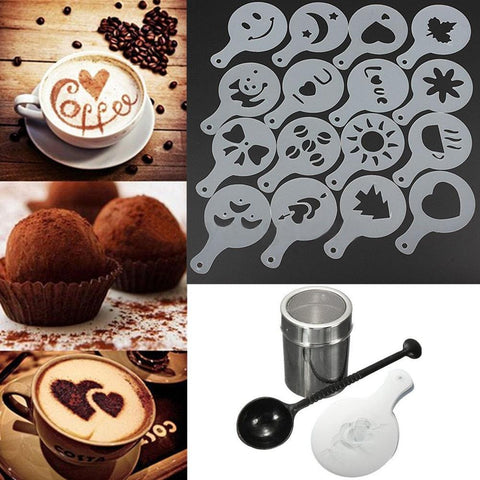 Image of 16pcs  Coffee Shaker Cocoa Powder Stainless Steel Chocolate Sugar Cappuccino Cinnamon Dusting Tank Kitchen Filter Cooking Tool