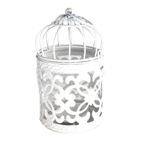 1PC White Hollow Holder Candlestick Tealight Hanging Lantern Bird Cage Vintage Wrought