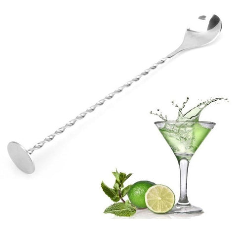 1Pc Stainless Steel Cocktail Stirrer Bar Puddler Martini Stirring Spoon