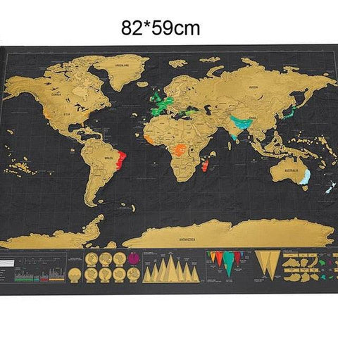 Image of 1pcs Deluxe Erase Black World Map Scratch off World Map Personalized Travel Scratch for Map Room Home Decoration Wall Stickers