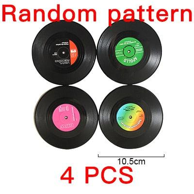 2 4 6 PCS Environmental Plastic Vinyl Record Table Placemats Simple and Creative Mug Coaster Heat-resistant Cup Coasters AKUHOME