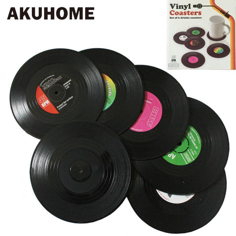 Image of 2 4 6 PCS Environmental Plastic Vinyl Record Table Placemats Simple and Creative Mug Coaster Heat-resistant Cup Coasters AKUHOME