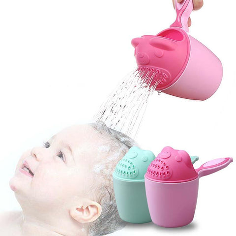 Image of Baby Kids Cartoon Bear Bathing Cup Baby Shower Shampoo Cup Bailer Baby Shower Water Spoon Bath Wash Cup