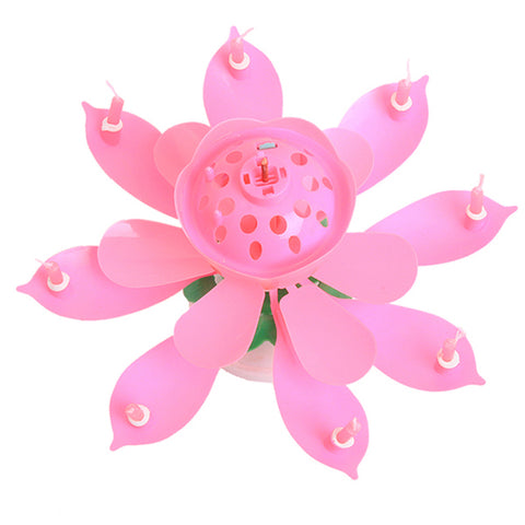 Musical Candle Lotus Flower Happy Birthday Party Gift Rotating Lights Decoration 8/14 Candles Lamp
