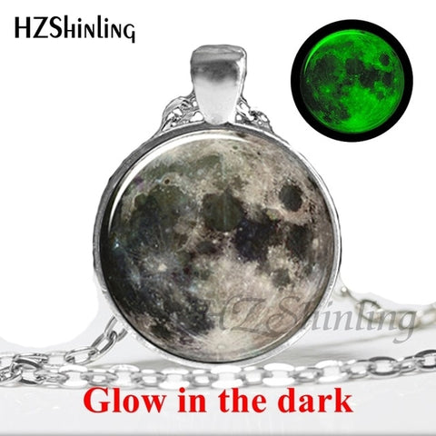Glowing Jewelry Full Moon Necklace Handmade Glass Dome Lunar Eclipse Necklace Glow in the dark Pendant Jewelry