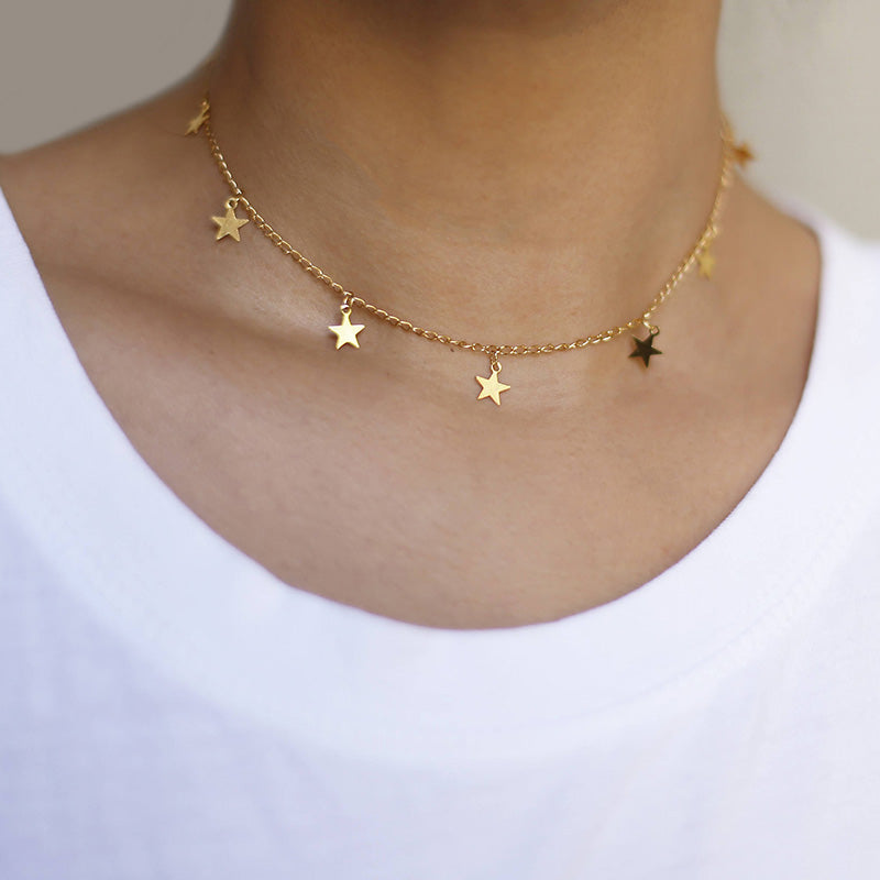 Fashion Drop 7 Star Choker Necklace Gold Star Necklace XL764