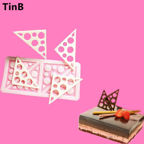 Image of Triangles Silicone Cake Mold Sugar Craft Fondant Mould Chocolate Molds Baking Tools For Cakes Birthday Cake Border Stencil