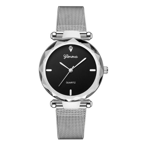Image of Women Watches Geneva Fashion Classic Luxury Stainless Steel Analog Quartz WristWatches