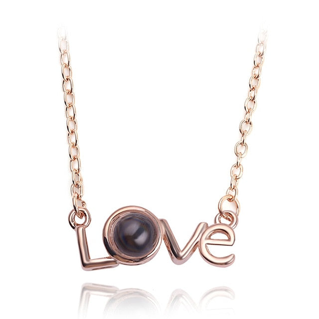 Rose Gold & Silver 100 languages I love you Projection Pendant Necklace Romantic Love Memory Wedding Necklace
