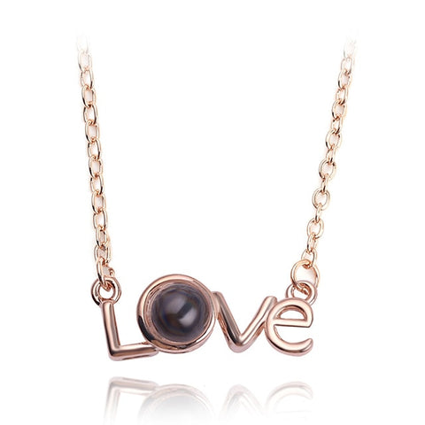 Image of Rose Gold & Silver 100 languages I love you Projection Pendant Necklace Romantic Love Memory Wedding Necklace