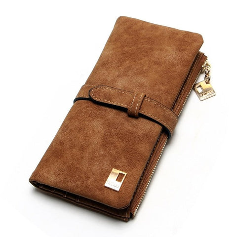 Image of Fashion Women Wallets Drawstring Nubuck Leather Zipper Wallet Women's Long Design Purse Two Fold More Color Clutch