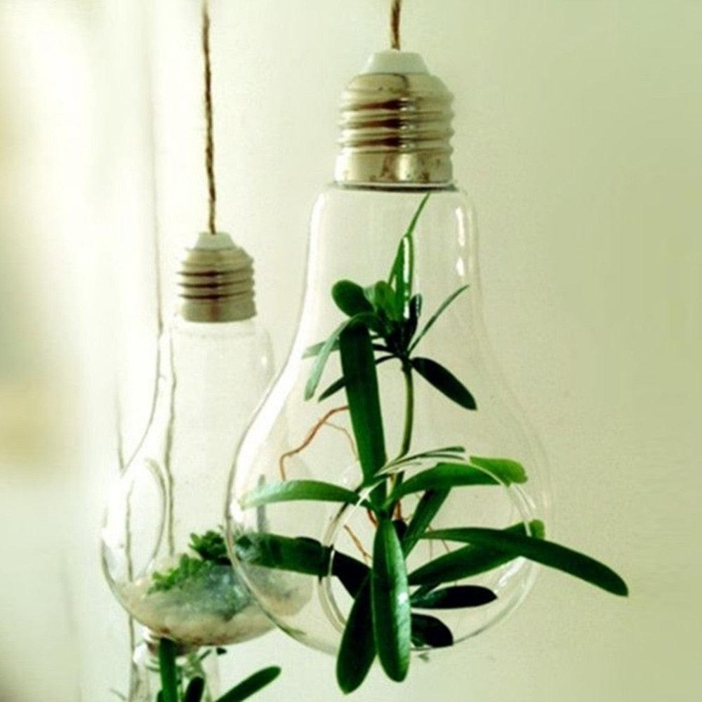 2018 New Glass Bulb Lamp Shape Flower Water Plant Hanging Vase Hydroponic Container Pot Home Office Wedding Decor Drop shipping