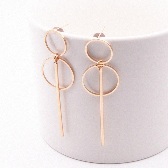 Fashion Earrings Punk Simple Gold/ Silver Long Section Tassel Pendant Size Circle Earrings For Ladies Gifts