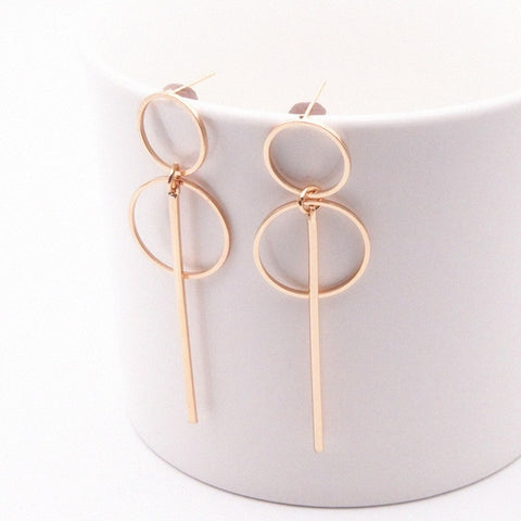 Image of Fashion Earrings Punk Simple Gold/ Silver Long Section Tassel Pendant Size Circle Earrings For Ladies Gifts