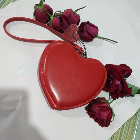 Image of Small Wallet For Women Red Heart Organizer Coin Purse Fashion Leather Mini Clutch Bag Cute Student Money Purse