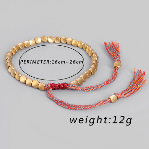 Handmade Tibetan Buddhist Braided Cotton Copper Beads Lucky Rope Bracelet & Bangles For Women Men Thread Bracelets