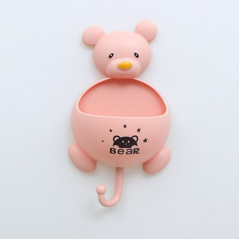 Multifunction Bear Toiletries Toothpaste Holder with Hook Bathroom Sets Plastic Storage Box Kitchen Accessories for Home
