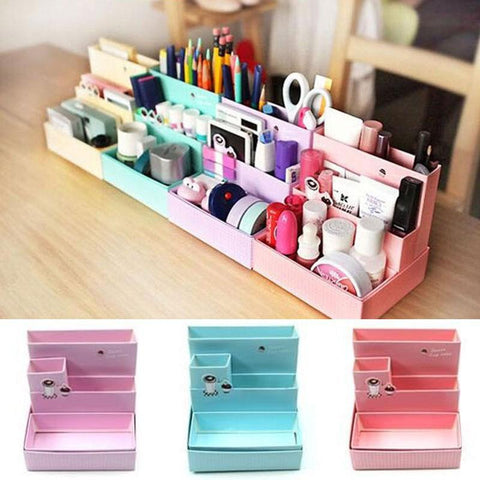 Image of DIY Paper Board Makeup Cosmetic Storage Box Container Desk Decor Stationery Case Organizer Top