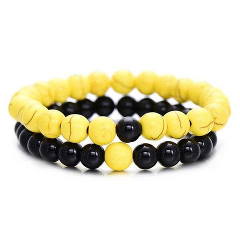 Image of 2Pcs/Set Couples Distance Bracelet Classic Natural Stone White and Black Yin Yang Beaded Bracelets for Men Women Best Friend Hot