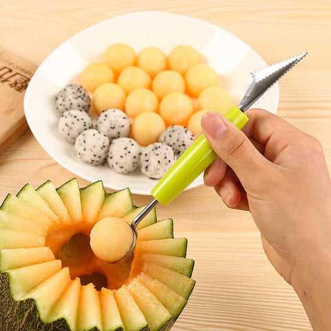 Image of 2in1 Dual-head Fruit Ball Carving Knife Kiwi Fruit Waterlemon Scoop Melon Digger Fruit Jar Mashed Potato Baller Ice Cream Spoon