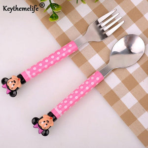 2pcs/set Cartoon Mickey Dinnerware set Tea Coffee Teaspoons Soup Ladle Kids Stainless Steel Tableware