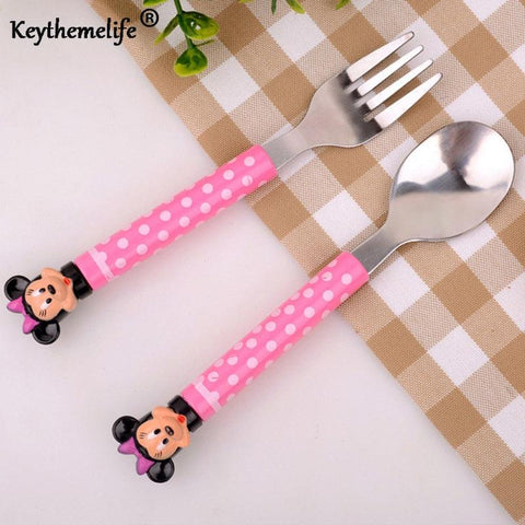 Image of 2pcs/set Cartoon Mickey Dinnerware set Tea Coffee Teaspoons Soup Ladle Kids Stainless Steel Tableware