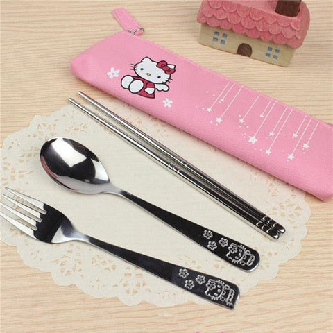 3 Pcs/Set Cartoon Hello Kitty Doraemon Portable Cutlery Set Stainless Steel Dinnerware Set Tableware Cutlery Fork For Kids