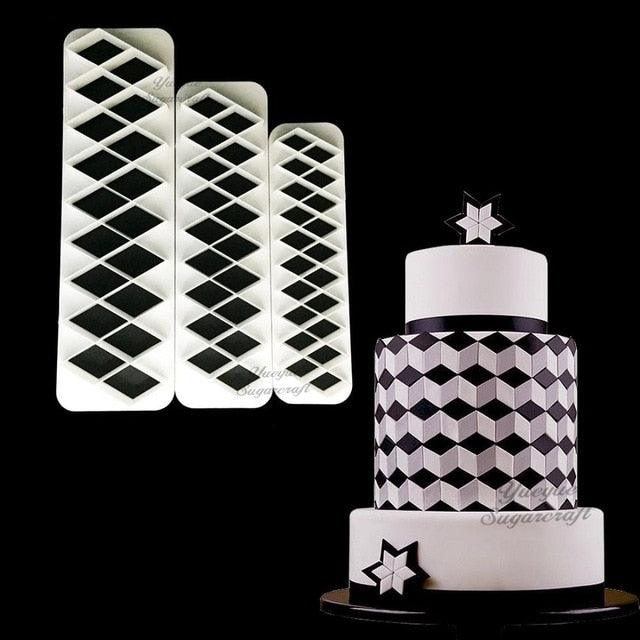 3 pcs Geometry fondant cookie cutter cake mold fondant mold fondant cake decorating tools Baking