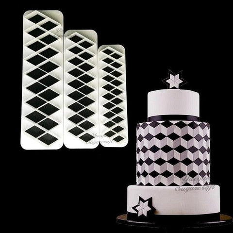 Image of 3 pcs Geometry fondant cookie cutter cake mold fondant mold fondant cake decorating tools Baking