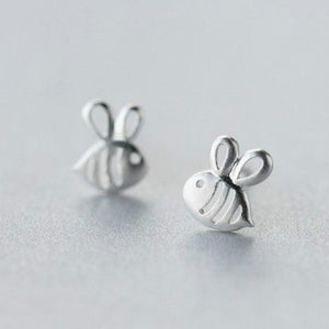 925 Sterling Silver Prevent Allergy 7mmX8mm Hollow Bees Stud Earrings for Women Wedding Earrings Jewelry