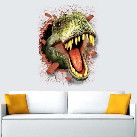 Image of 3D Cartoon Dinosaur Wall Sticker Home Decoration Antistatic Through-wall Wall Paper Cartoon Animal Wall Paper Poster Home Decor