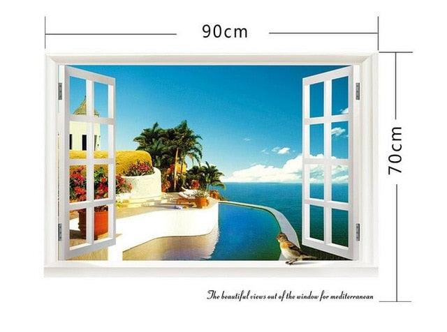 3D Removable Beach Sea 3D Window Scenery Wall Sticker Home Decor Decals Mural Waterproof Art Wall Paper Poster