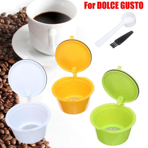 Image of 3Pcs/Set Reusable Coffee Capsules Spoon Brush Set Refillable Coffee Capsules Cup Pod Filter Baskets For Nescafe Dolce Gusto