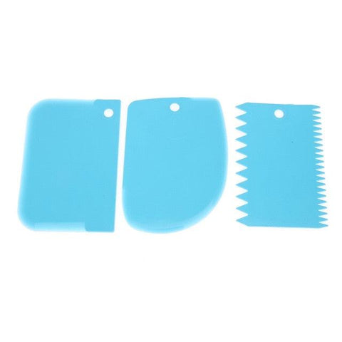 Image of 3pcs/set Plastic Cake Scraper Dough Cake Fondant Scraper Cake Decorating Baking Tool Pastry Spatulas Jagged Edge Cutters