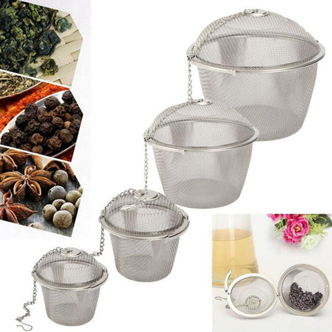 Image of 4 Size Stainless Steel Tea Strainer Infuser Tea Locking Ball Tea Spice Mesh Herbal Ball cooking tools