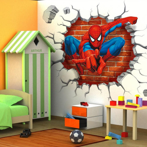Image of 45*50cm hot 3d hole famous cartoon movie spiderman wall stickers for kids rooms boys gifts through wall decals home decor mural