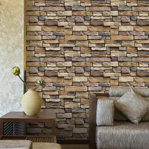 Image of 45x100cm Self Adhesive Wallpaper PVC Waterproof Stone Wallpapers Brick Wall Paper Decorative Wall Stickers Bedroom Home Decor
