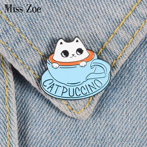 Cat Coffee Enamel Pin Coffee Cup Brooch, Bag Clothes Lapel Pin Button Badge Cartoon Cute Animal Kids Gift