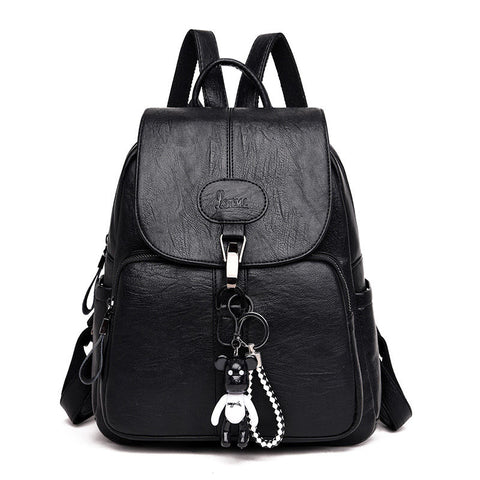 Soft Backpack Female Pu Leather Vintage Ladies Backpack Youth Bagpack for Teenage Girls
