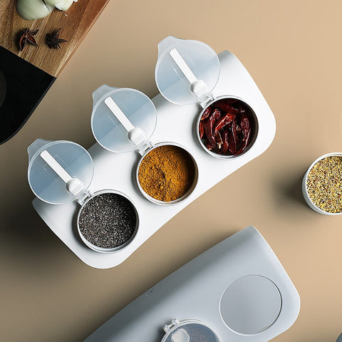 Image of Kitchen Supplies Seasoning Bottle Storage Box Spice Jar With Spoon Creative Plastic Storage Box Home Cooking Tools