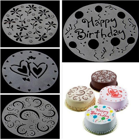 Image of 4Pc/lot Plastic Cake Stencils Flower Spray Stencils Birthday Cake Mold Decorating Bakery Tools DIY Mould Fondant Template