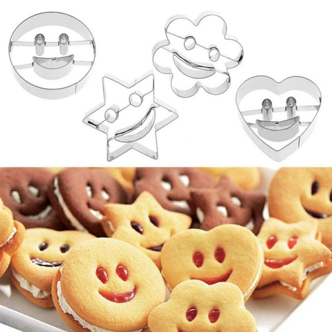 Image of 4Pcs Stainless Steel Smiling Face Emoji Biscuit Cookie Cutter Cake Decorating Mold DIY Baking Moulds