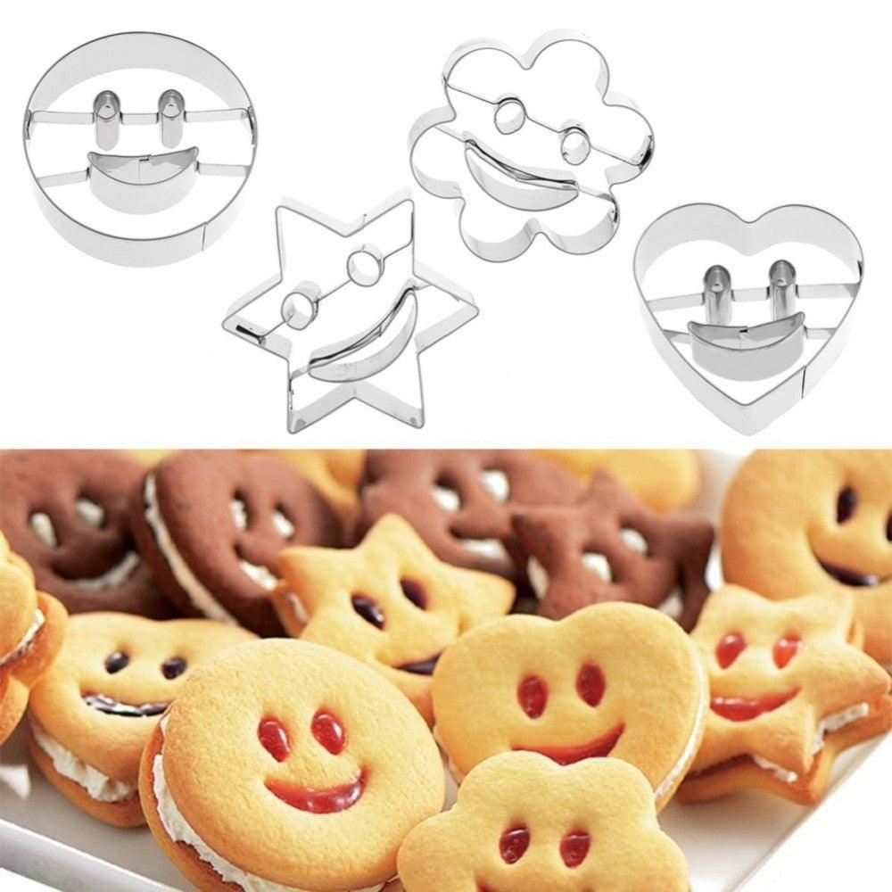 4Pcs Stainless Steel Smiling Face Emoji Biscuit Cookie Cutter Cake Decorating Mold DIY Baking Moulds