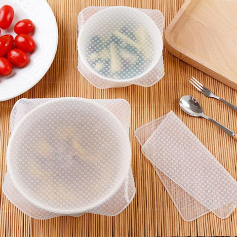 Image of 4Pcs/lot Reusable Silicone Wrap Seal Food Fresh Keeping Wrap Lid Cover Stretch Vacuum Food Wrap Kitchen Tools
